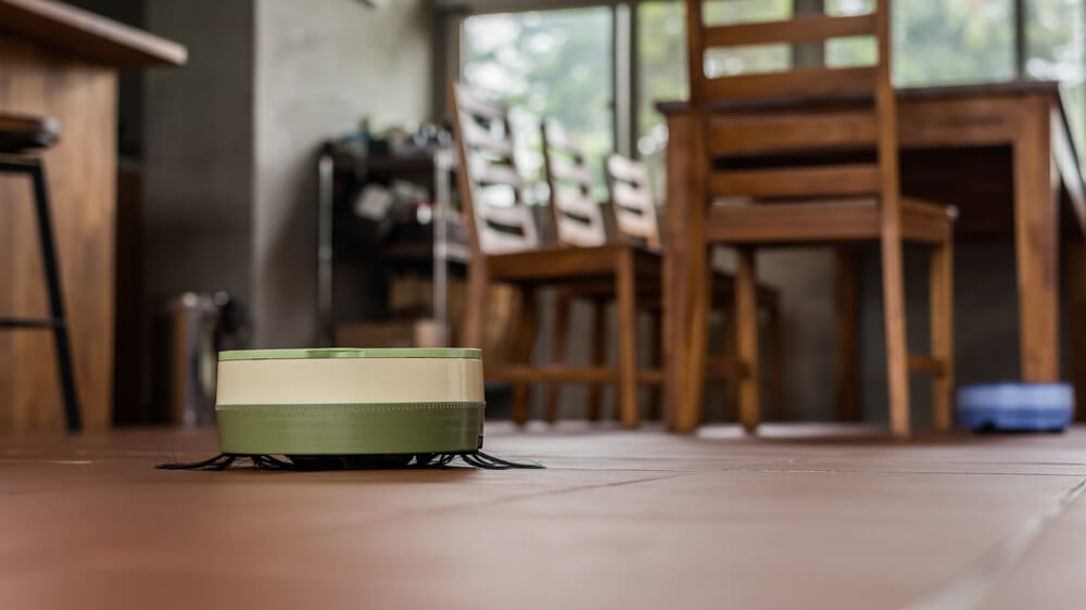 Robotic vacuum cleaner working at home